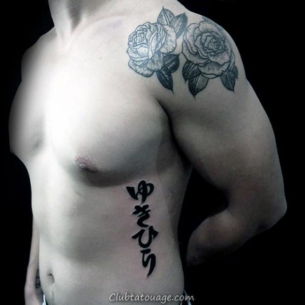 Homme Avec Tattoo Stroke Om Cercle Brush Sur Innerforearm