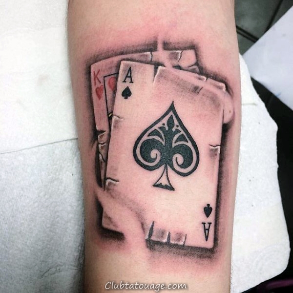 roi avec la Reine Guys Playing Card Arm Tattoo