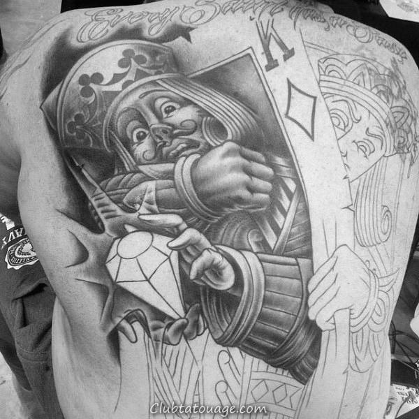 Homme Blackjack Jouer Carte biceps Tatouages