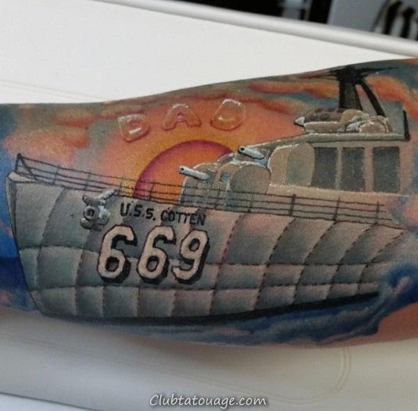 Grand navire Et papa Tattoo Homme Forearm