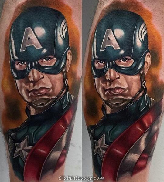 Lower Leg Mens Captain America Aquarelle Tattoo Ideas