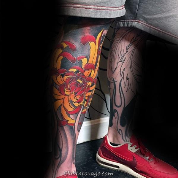 Lower Leg jaune et rouge fleur de chrysanthème Tattoo Sur Gentleman