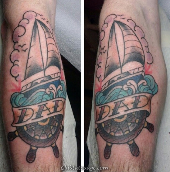 Male Arms Anchor et Sails papa Tattoo