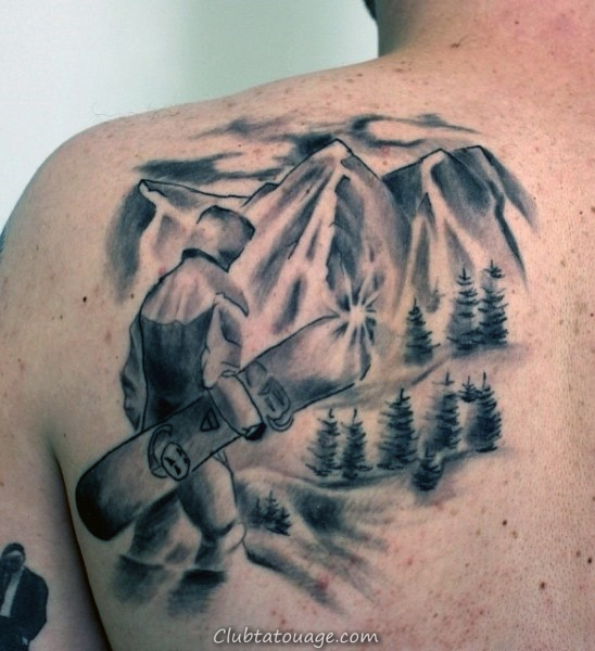 homme Retour Gris Man With Snowboard Tattoo