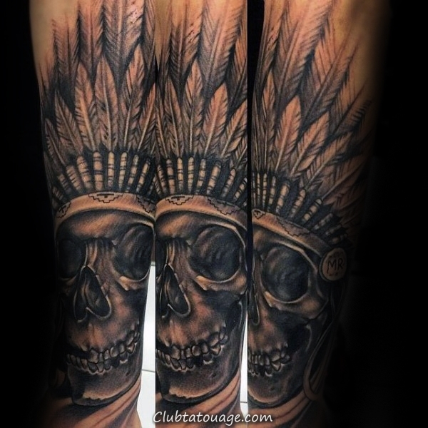 Homme Forearm Tattoo Of Skull Indian