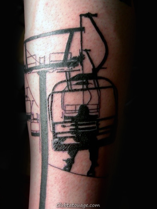 Homme Avant-bras cable Car et Snowboard Tattoo