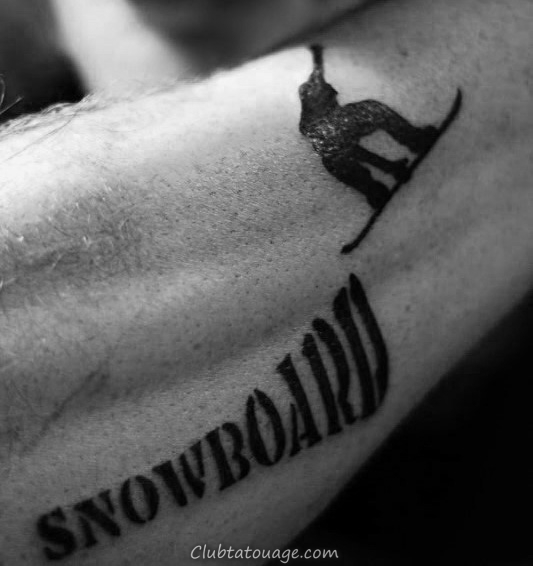 Homme Noir foncé Snowboard Avant-bras Tattoo