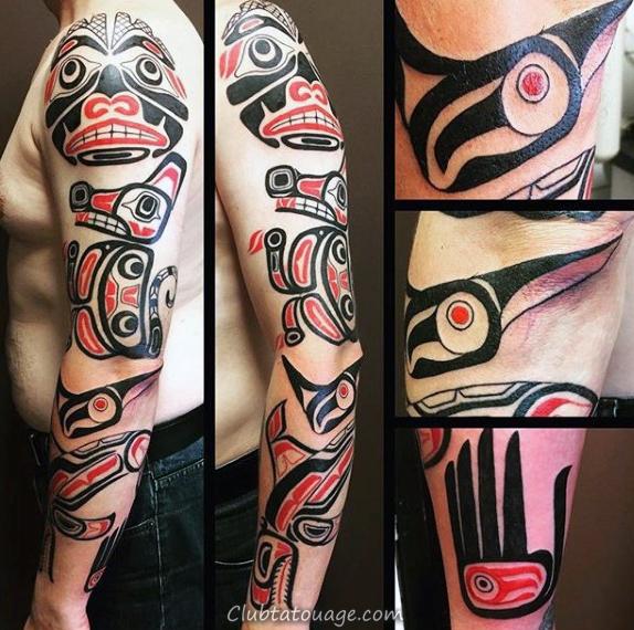 width Homme plein Arms Rouge Noir Haida Tattoo