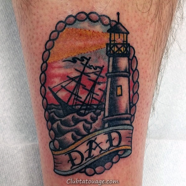 Legs Male Lighthouse Et papa Tattoo