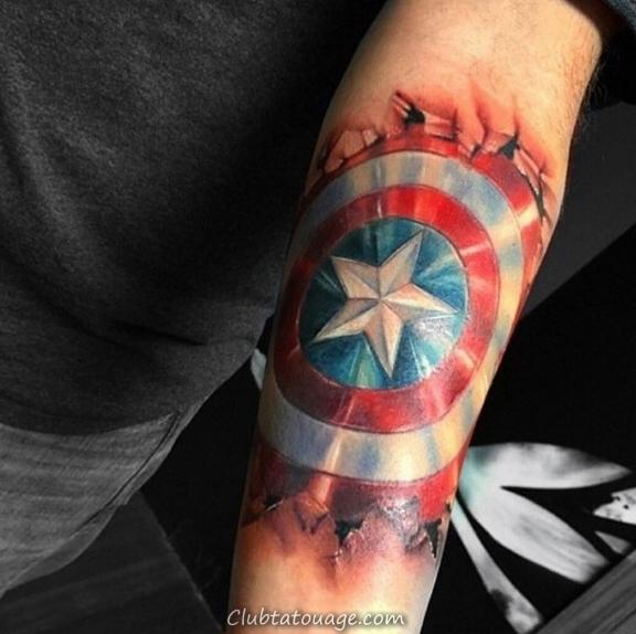 Man With Captain America Skull Tattoo Sur Leg Calf