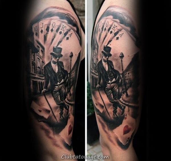 Mens Playing Card Lucky Clover Et Huit tatouage boule Idées