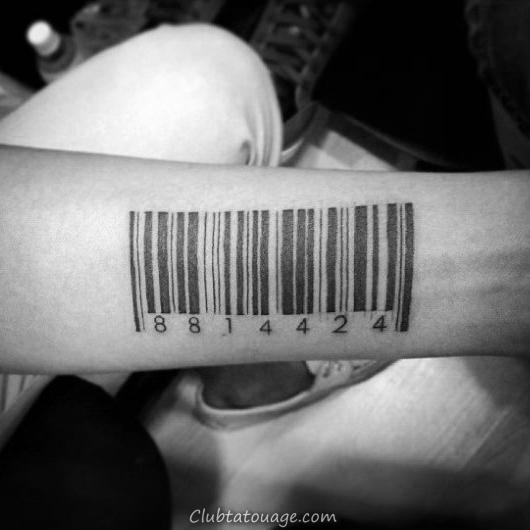 Mens arrière du cou Arbre Forêt Barcode Tattoo Ideas