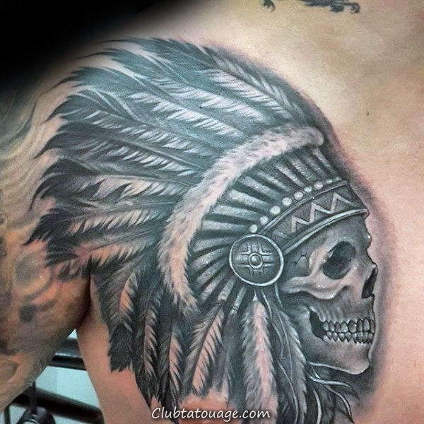 Man With Skull indienne Upper Chest Tattoo