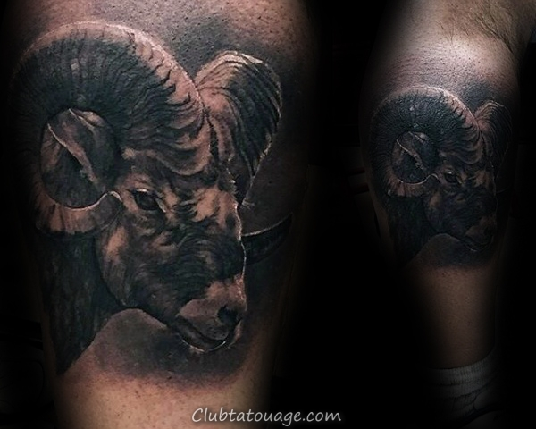 Man With Réaliste Ram Leg Calf Tattoo