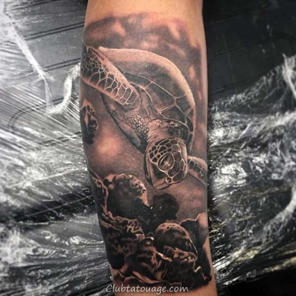 Mens Résumé tortue Cage thoracique Side Tattoos