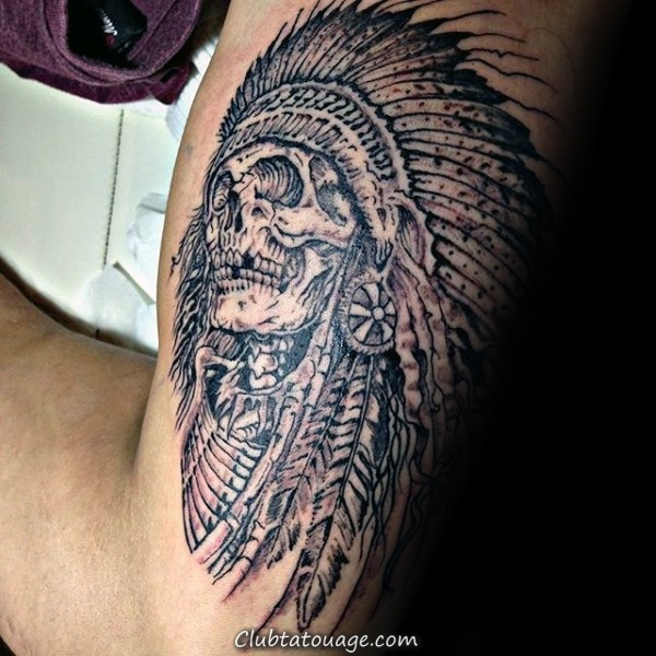 Man With Tattoo Of Skull Indian Sur Outer Arm Biceps