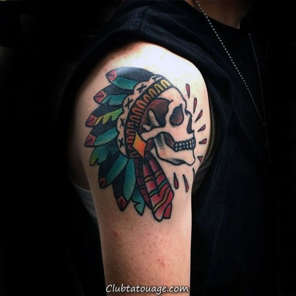 width Manly Old School Guys Indian Skull Upper Tattoo Arm
