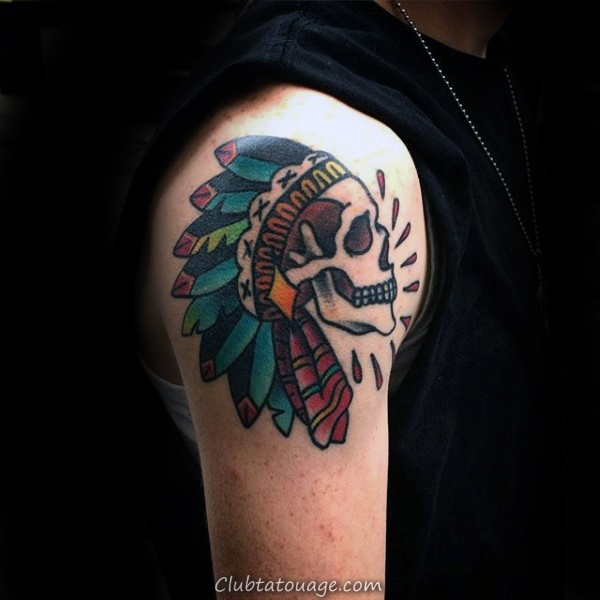 manly-old-school-guys-indian-skull-upper-arm-tattoo