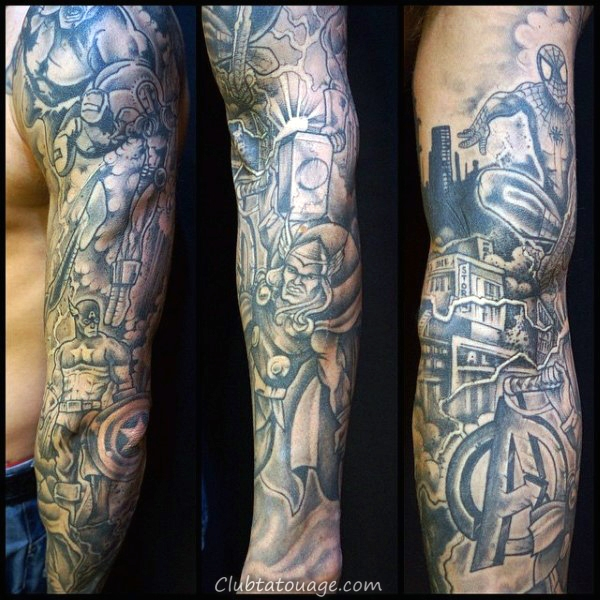 width Mens Forearm Captain America Sleeve Aquarelle Tattoo