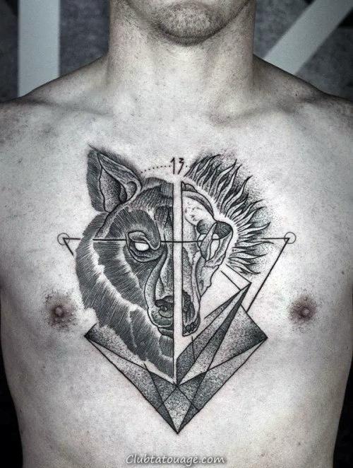 Mens Biceps Growling Refroidir géométrique Loup Tattoo Designs