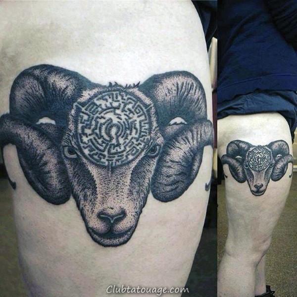Maze Ram cuisse tatouages pour Guys