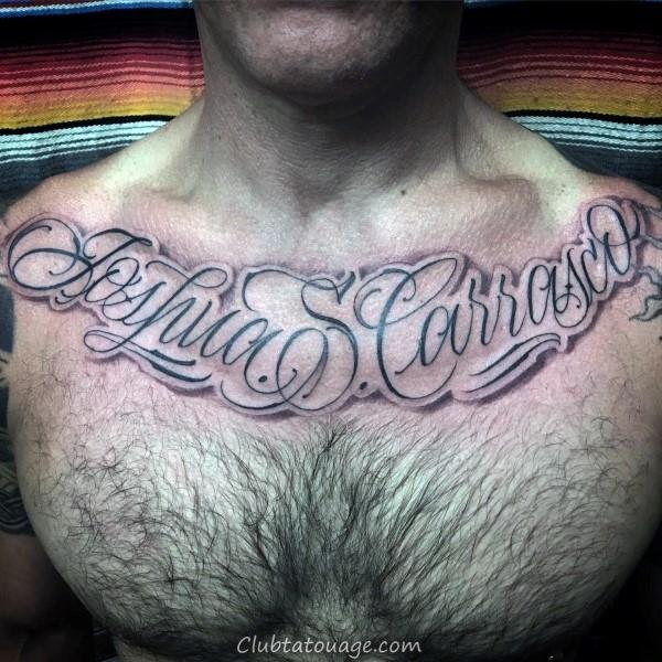 Mens Chest Tattoo de Lunatic Parole Script design http://clubtatouage.com/wp-content/uploads/2016/06/man-with-script-tattoo-on-thigh-time-flies.jpg