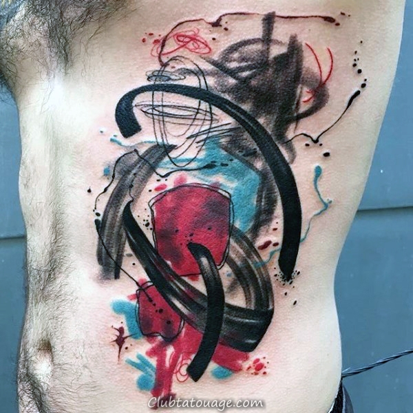 Mens Upper Arm Peint Brush Tattoo Stroke Conception à l'encre noire