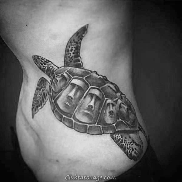 Mens Black Ink Back Of Leg Calf Polynesian Tattoo Turtle Tribal Designs