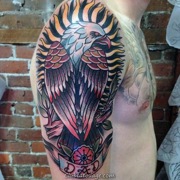 Arms Hommes Enormous Aigle Et papa Tattoo