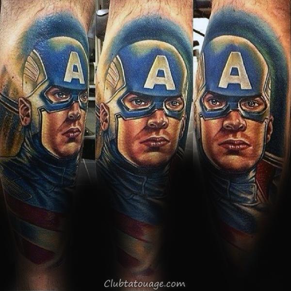 70 Captain America Tattoo Designs For Men - Idées Superhero encre
