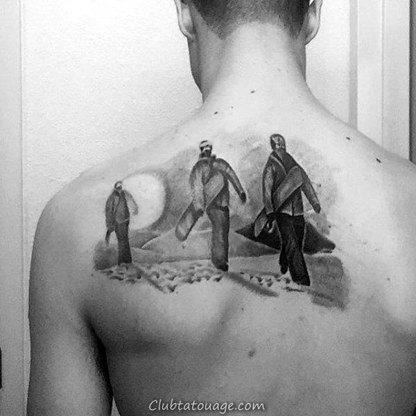 Mens Retour Trois personnes avec un tatouage Snowboard