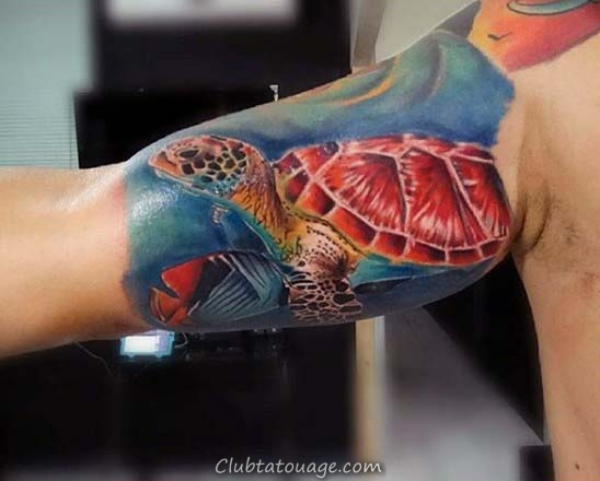 Mens Full Back Tortue Ocean Themed Design Tattoo Avec Piscine Fish