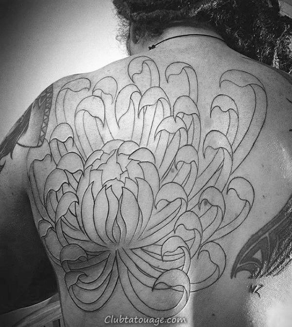 width Mens Black Ink Outlien fleur de chrysanthème Retour Tattoo