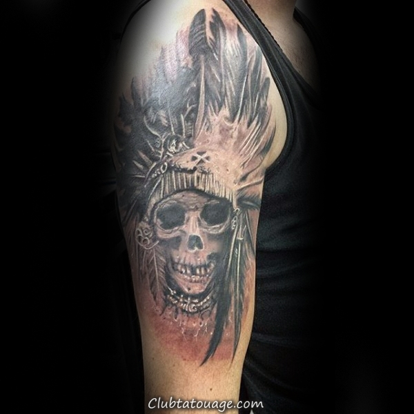 width Mens Indian Chief Skull Upper Arm Tattoo Design Inspiration