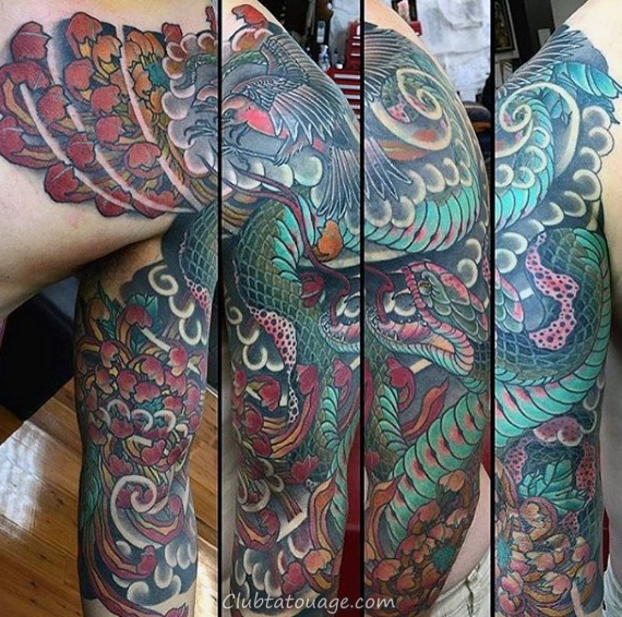 width Hommes fleur de chrysanthème japonais serpent Tatouages manches