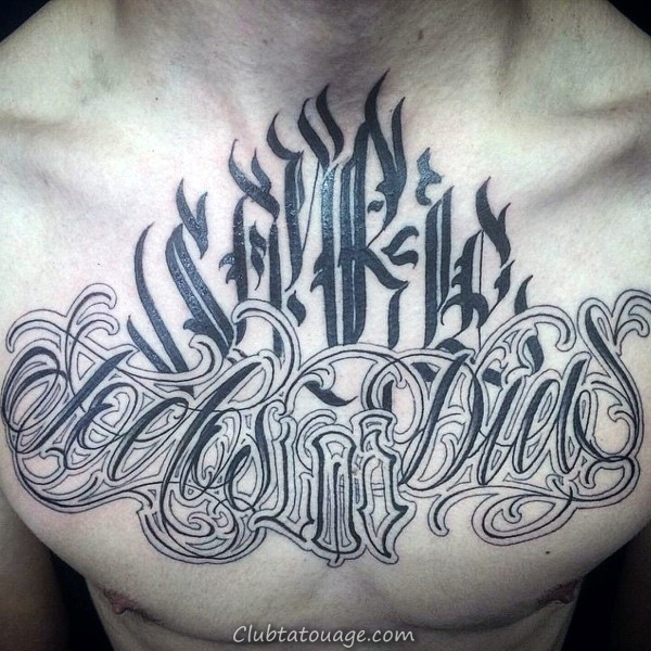 width Mens Los Angeles West Coast Script Chest Tattoo