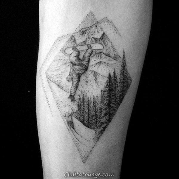 Hommes Gris Dots Snowboard Avant-bras Tattoo