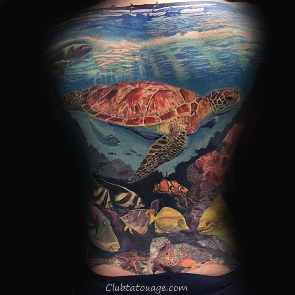 Mens réalistes tortue Forearm manches Underwater Tattoo Idées