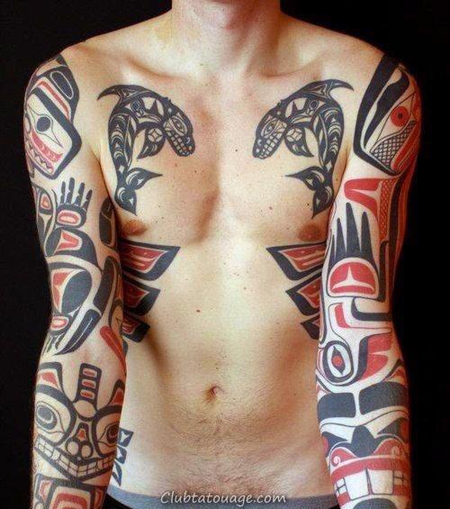 mens manches magnifiques Haida Tattoo Design Ideas