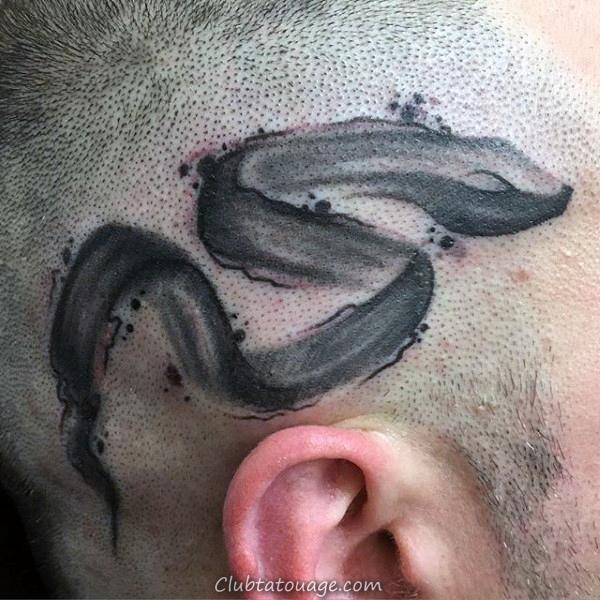 Tatouages Stroke Négatif Espace Homme Pinceau Upper Arm