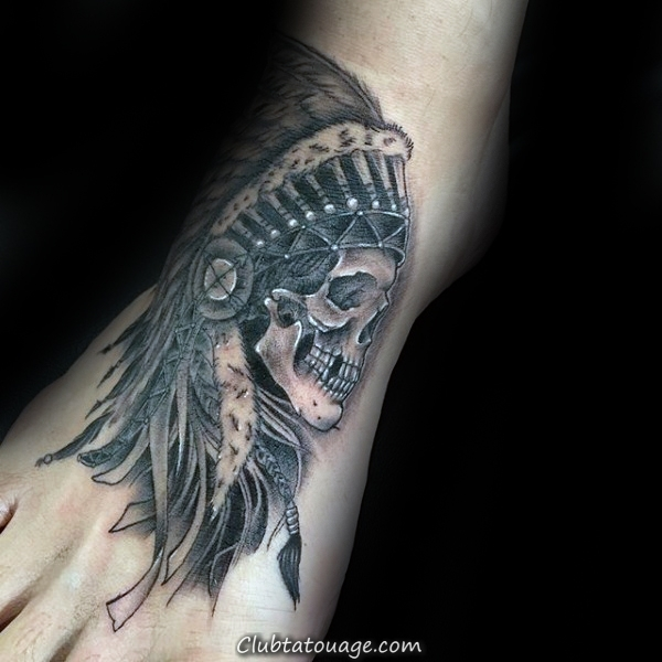 Tattoo pied Skull Indian Mens Designs