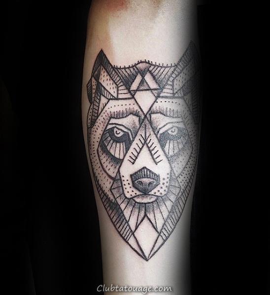 Aquarelle géométrique Loup Chest Tattoo Mens Avec Abstract Design