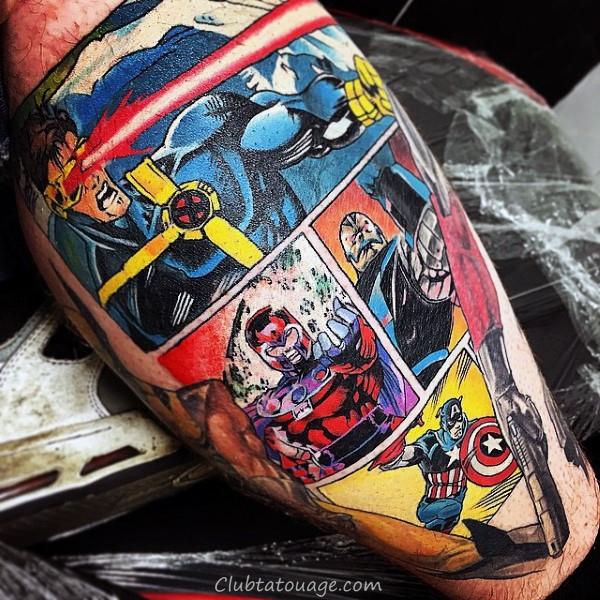 Mens réaliste Captain America Leg tattoo Ideas