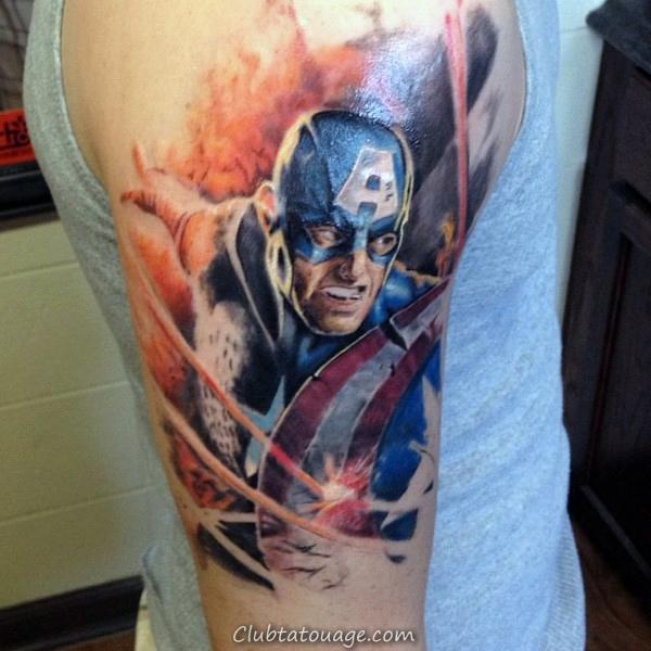 Mens Épaule Captain America Tattoo Ideas