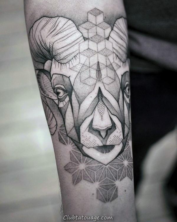 Hommes Ram géométriques Dotwork Tatouages Sur Inner Forearm