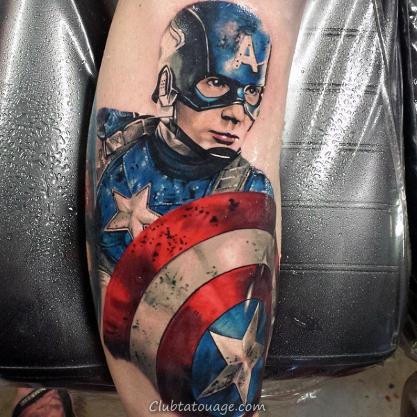 Modern Mens Cuisse Tatoto Of Captain America Shield