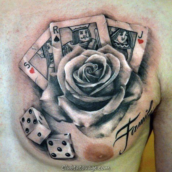notes de musique carte de jeu Guys Upper Arm Tattoos