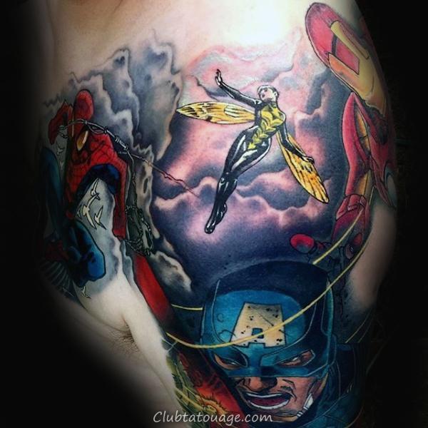 Portrait Of Tattoo Captain America Mens Arm