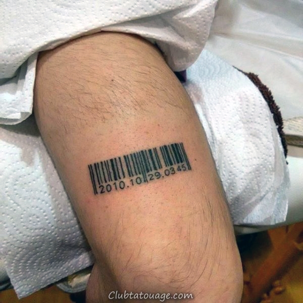 Religious Cross Barcode Leg Tattoo For Men