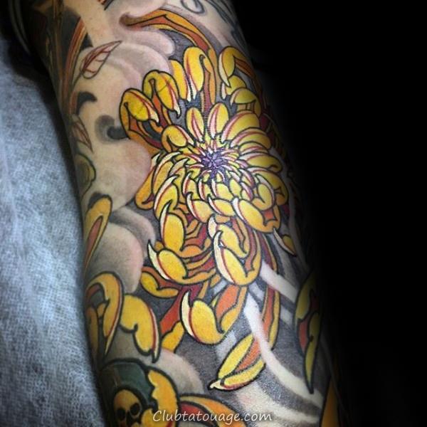width Mens Yellow Chrysanthemum manches Tattoo Flower